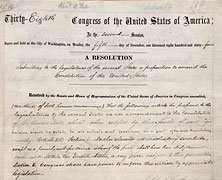 13th Amendment to the U.S. Constitution Passes by the House of Representatives